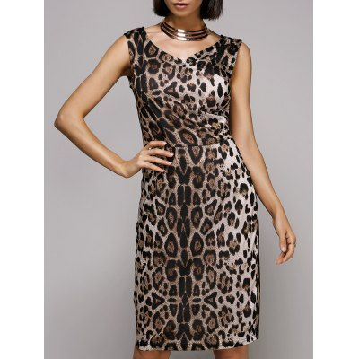 V-Neck Sleeveless Leopard Print Midi Dress For Women
