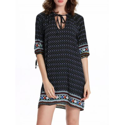 Chic Women's 3/4 Sleeve Hollow Out Ethnic Print Dress