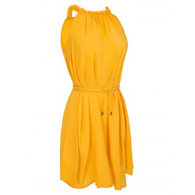 Casual Ruffled Neck Sleeveless Stretchy  Women's Belted Dress