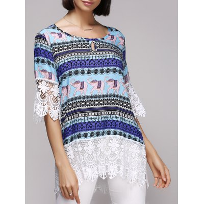Stylish 3/4 Sleeve Scoop Neck Tribal Print Spliced Blouse