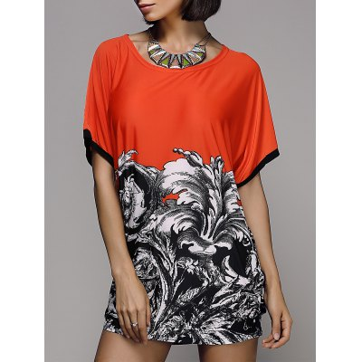 Stylish Printed Short Sleeve Scoop Neck Women's T-Shirt