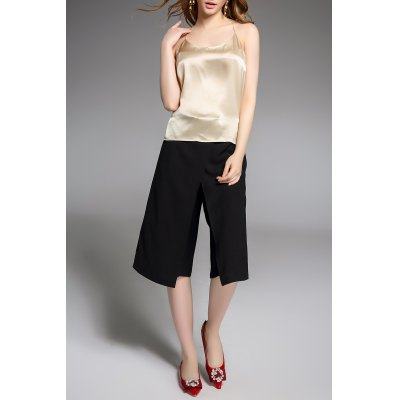 Solid Color Asymmetrical Pants