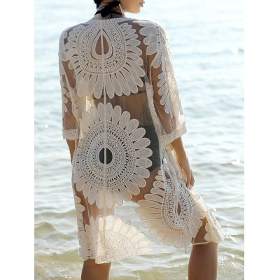 Bohemian Flare Sleeve Lace Spliced Cover-Up