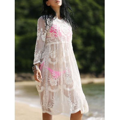 Stylish Long Sleeve See-Through Round Neck Cover-Up