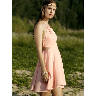 Trendy Halter Backless Solid Color A Line Dress For Women