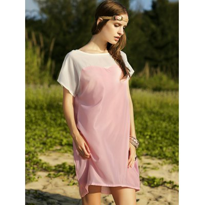 Casual Boat Neck Batwing Sleeve Two-Tone Women's Dress
