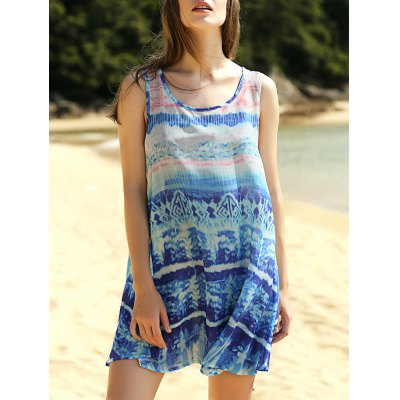 Printed Scoop Neck A-Line Tank Dress