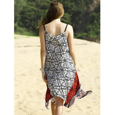 Trendy Printed Camisole Women's Hankerchief Dress