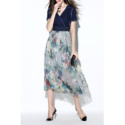 Printed Denim Splicinf Chiffon Dress