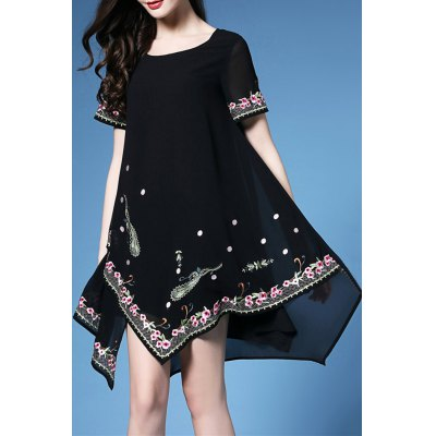 Embroidered Handkerchief Dress
