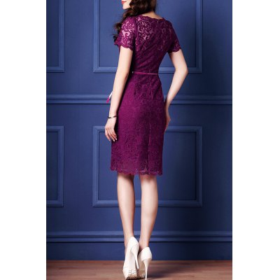 Belted Guipure Lace Bodycon DressDesigner Clothing<br>Belted Guipure Lace Bodycon Dress<br><br>Style: Vintage<br>Occasion: Day,Evening,Prom,Work<br>Material: Polyester<br>Composition: 100% Polyester<br>Silhouette: Sheath<br>Dresses Length: Mini<br>Neckline: Round Collar<br>Sleeve Length: Short Sleeves<br>Pattern Type: Floral<br>With Belt: Yes<br>Season: Summer<br>Weight: 0.370kg<br>Package Contents: 1 x Dress  1 x Belt