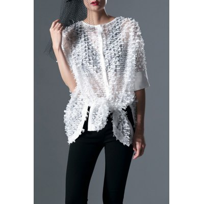 White Round Neck Batwing Sleeve Blouse