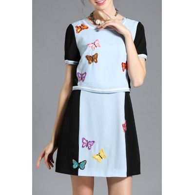 Embroidered Faux Twinset Dress