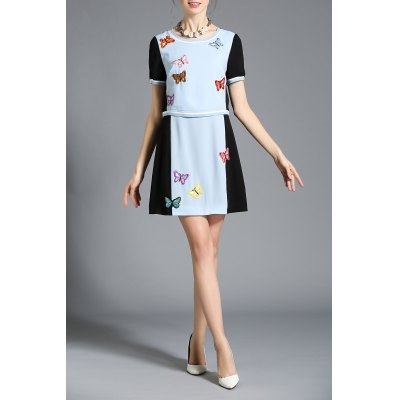 Hit Color Embroidered Faux Twinset Dress
