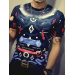 Color Block Geometric Print Round Neck Short Sleeve T-Shirt For Men deal