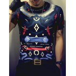 Color Block Geometric Print Round Neck Short Sleeve T-Shirt For Men