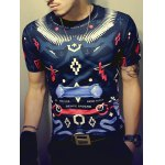 cheap Color Block Geometric Print Round Neck Short Sleeve T-Shirt For Men