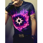cheap 3D Fire and Geometric Print Round Neck Short Sleeve T-Shirt For Men