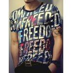 cheap 3D Letters Print Round Neck Short Sleeve T-Shirt For Men