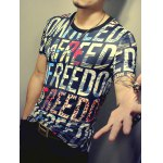 3D Letters Print Round Neck Short Sleeve T-Shirt For Men deal