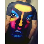 3D Face Print Round Neck Short Sleeve T-Shirt For Men for sale