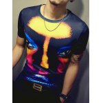 cheap 3D Face Print Round Neck Short Sleeve T-Shirt For Men