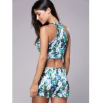 Trendy High Neck Tropical Print Crop Top + Mini Short Women's Twinset for sale