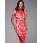 Fashionable Round Neck Sleeveless Cut Out Lace Dress For Women deal
