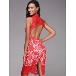 High Neck Sleeveless Cut Out Lace Dress for sale