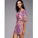 cheap Chic Round Neck Ethnic Style Pattern Print Color  Short Sleeve Dress For Women