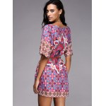 Chic Round Neck Ethnic Style Pattern Print Color  Short Sleeve Dress For Women deal
