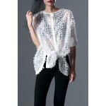 Round Neck White Batwing Sleeve Blouse