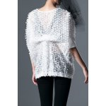 cheap Round Neck White Batwing Sleeve Blouse