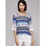 cheap Stylish 3/4 Sleeve Scoop Neck Tribal Print Spliced Women's Blouse
