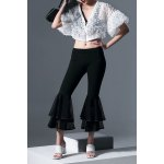 Elastic Waist Mesh Spliced Boot Cut Pants deal