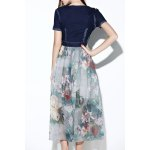 cheap Printed Denim Spliced Chiffon Dress