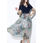 Printed Denim Spliced Chiffon Dress deal