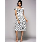 cheap Stylish V-Neck Cap Sleeve Polka Dot Midi Dress For Women