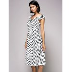 Stylish V-Neck Cap Sleeve Polka Dot Midi Dress For Women deal