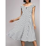Stylish V-Neck Cap Sleeve Polka Dot Midi Dress For Women