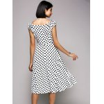 Stylish V-Neck Cap Sleeve Polka Dot Midi Dress For Women for sale