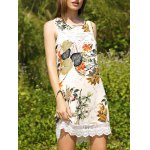 Sweet Printed Keyhole Back Lace Trim Women's Dress
