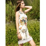 Sweet Printed Keyhole Back Lace Trim Women's Dress deal