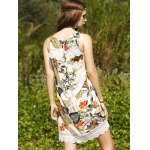 Sweet Printed Keyhole Back Lace Trim Women's Dress for sale