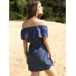 Sweet Off-The-Shoulder Striped Women's Frill Dress for sale