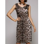 Stylish V-Neck Sleeveless Leopard Print Midi Dress For Women