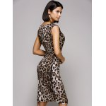 Stylish V-Neck Sleeveless Leopard Print Midi Dress For Women deal