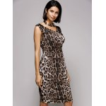cheap Stylish V-Neck Sleeveless Leopard Print Midi Dress For Women