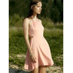 cheap Trendy Halter Backless Solid Color A Line Dress For Women