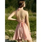 Trendy Halter Backless Solid Color A Line Dress For Women for sale